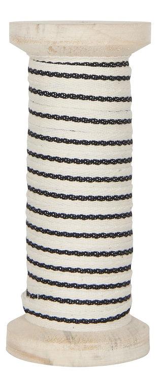 Band aus Baumwolle in weiss mit schwarzem Streifen