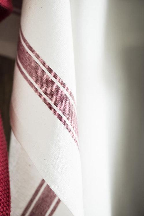 Geschirrhandtuch weiss mit roten Streifen