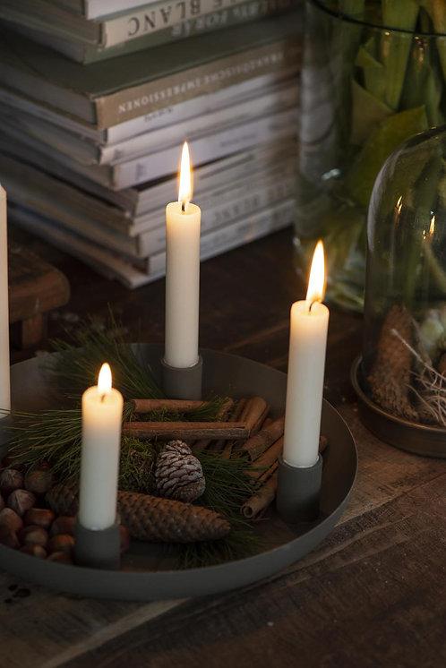 Kerzenhalter, staubig grün, für Stabkerzen
