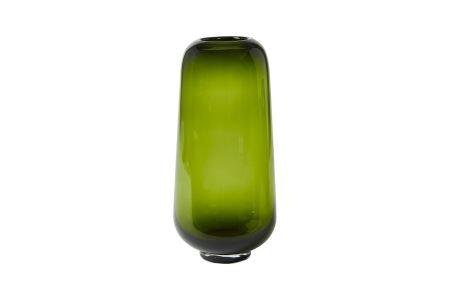 hohe Vase aus grünem Glas