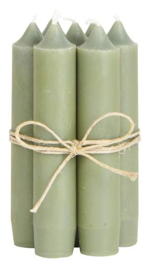10er Set Kerzen, 11cm lang, olive