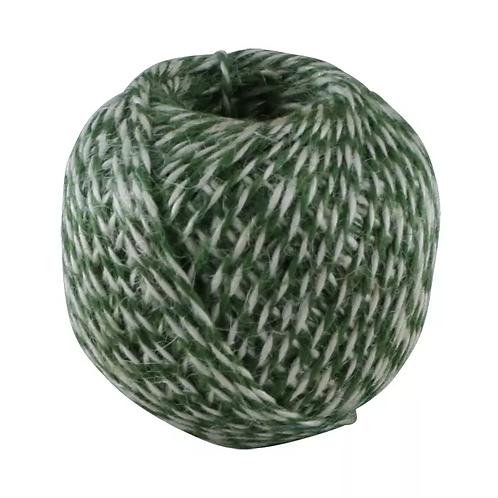 Juteband, Geschenkband, grün-weiß