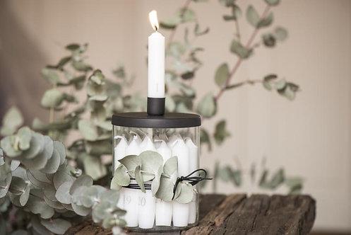 Glashalter für Kerzen, Kerzenhalter, mit Metalldeckel schwarz