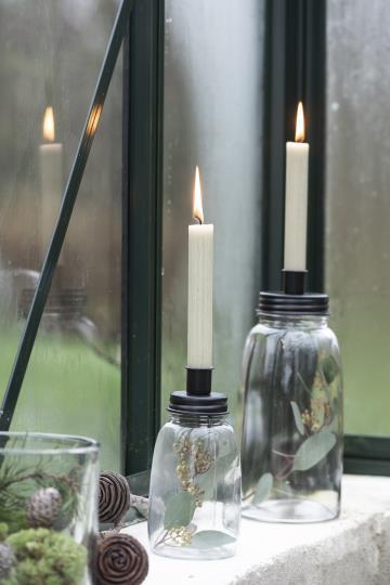 Kerzenhalter mit Glas, schwarz, für dünne Kerzen