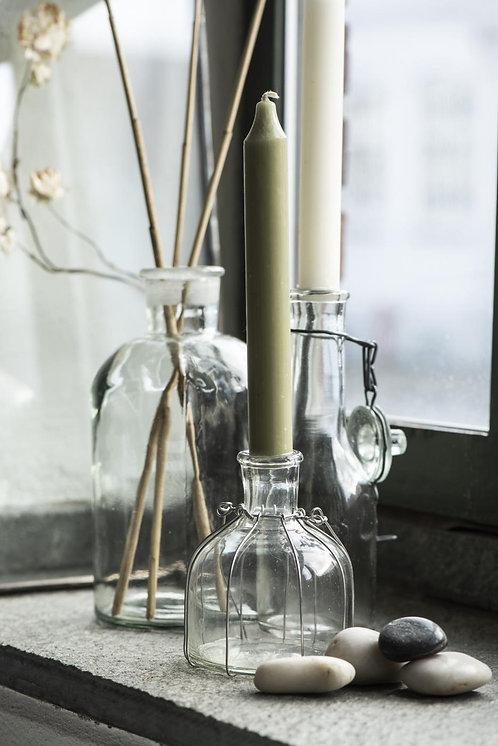 10er Set Kerzen moosgrün, 18cm, rustikale Kerze
