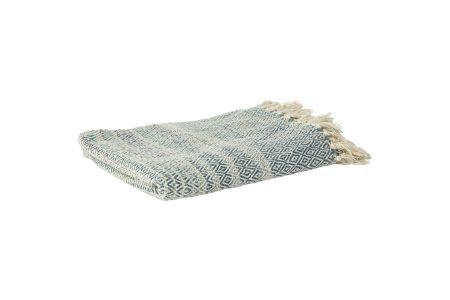 Decke aus Baumwolle mit blau-weissen Rauten