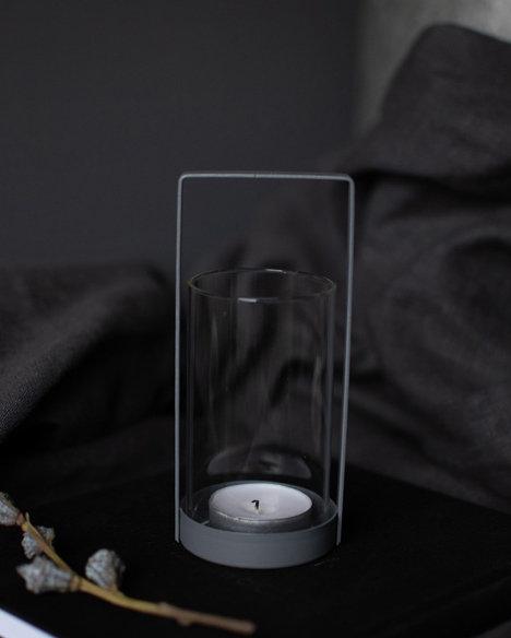 Laterne Kvarnvik, grau, mini, Teelichthalter