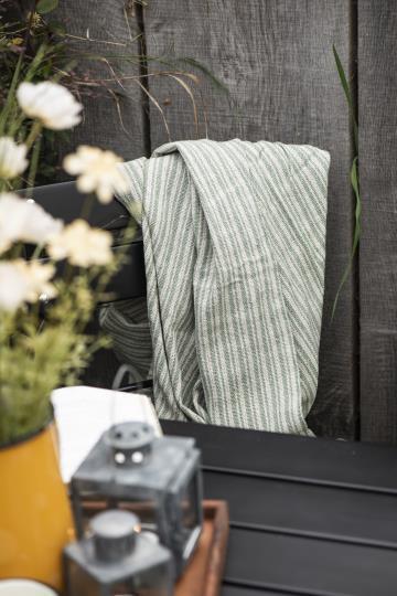 Decke aus Baumwolle mit Streifen in grün-beige