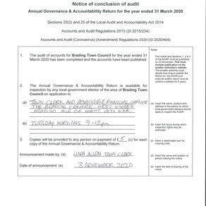 BRADING TOWN COUNCIL - Notice of Conclusion of Audit, year ended 31 march 2020