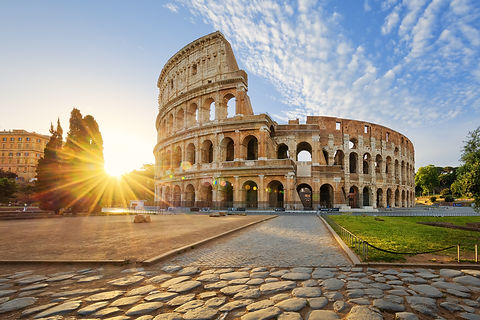 View of Colosseum in Rome and morning su