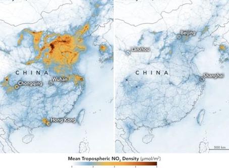 Δραστική μείωση της ατμοσφαιρικής ρύπανσης στην Κίνα λόγω Κορωνοϊού (Χάρτες)