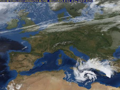 Η πορεία του μεσογειακού κυκλώνα- Medicane μέχρι τη Δευτέρα 1/10/2018