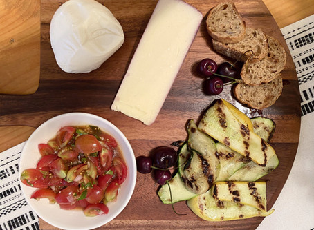 Summer Entertaining Cheese Board, with Grilled Veggies and Balsamic Bruschetta