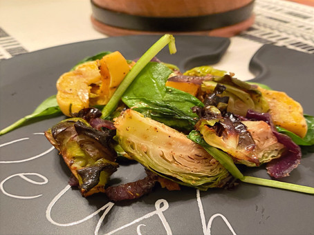 Roasted Delicata Squash with Brussel Sprouts and Spinach