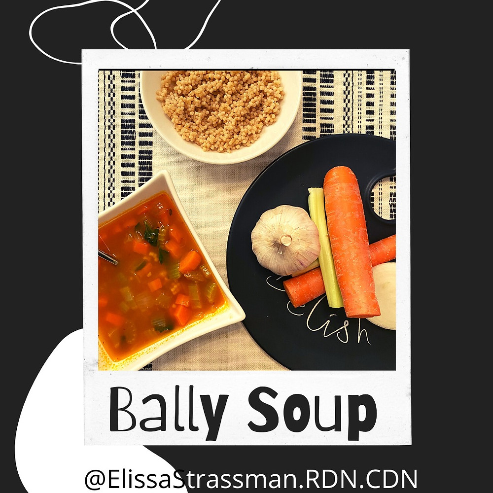 "This is a picture of ""Bally Soup"" and some of it's ingredients. ""Bally Soup"" is made with chicken broth, vegetables, shredded chicken, and Acini di Pepe(the little balls, in ""Bally Soup"")."