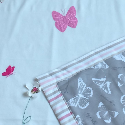 BLANKET WITH HAND SEWN MOTIFS & PERSONALISATION - BUTTERFLIES & FLOWERS