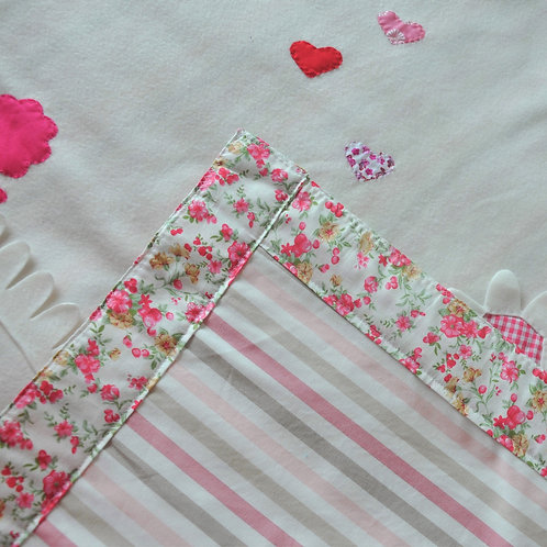 BLANKET WITH HAND SEWN MOTIFS & PERSONALISATION - FLORAL HEARTS