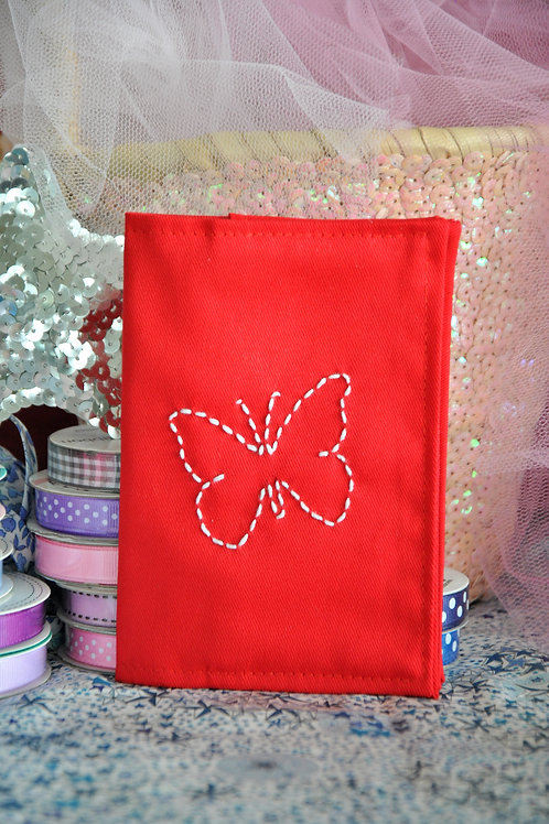 PASSPORT COVER WITH EMBROIDERED MOTIF