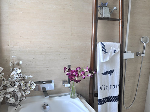 Towels with Hand Sewn Personalisation & Motif