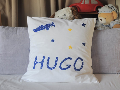 CUSHION WITH HAND SEWN MOTIF & PERSONALISATION