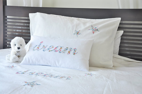 DUVET COVER & PILLOWCASE WITH HAND SEWN WORD & MOTIFS - LIBERTY
