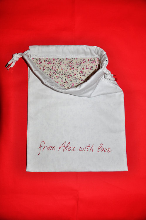 GARNMENT BAG WITH EMBROIDERED MOTIF & PERSONALISATION