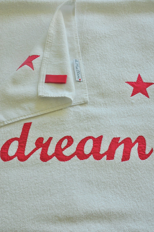 Towels with Hand Sewn Word