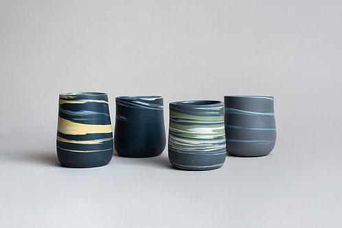 Vasos Negros Porcelana Jaspeada