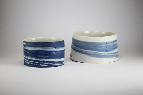 Fuentes Chicas Porcelana Jaspeada Azul
