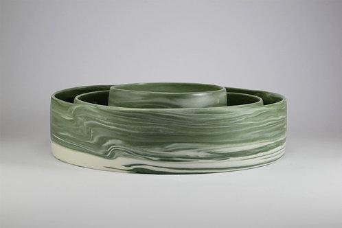Fuentes Porcelana Jaspeada Verde