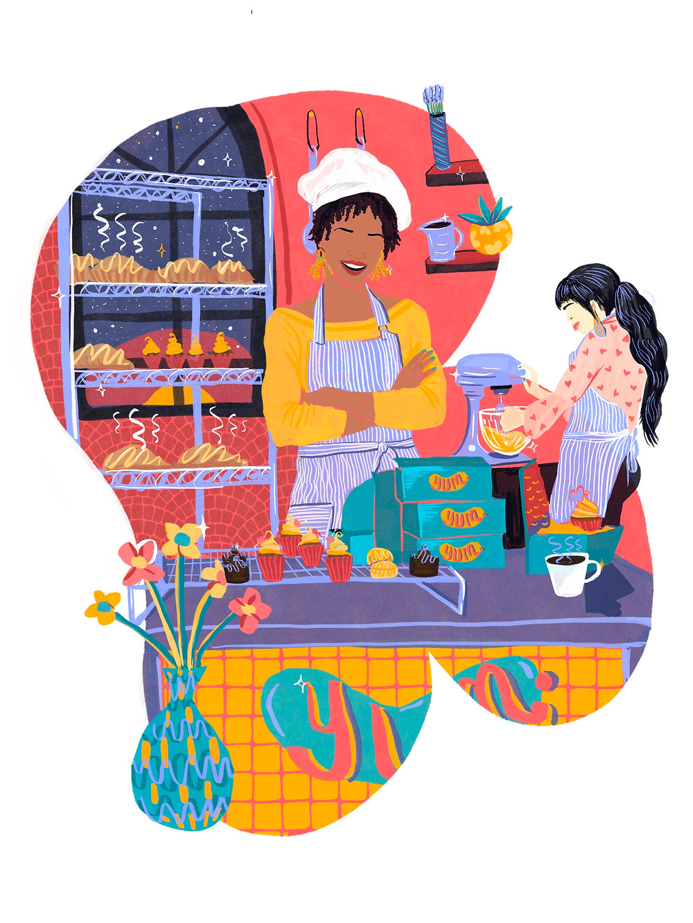 Woman of color shown as an owner of a bakery behind the counter where she stands by freshly baked cupcakes and bread. Standing behind her is another worker holding a mixing bowl.
