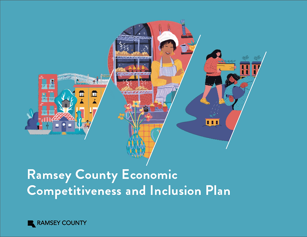 Illustrations of a community block with people, buildings, and trees in Ramsey County. The center image is of the owner of a bakery surrounded by loaves of bread. The illustration on the right is of two people watering plants that symbolize growing equity in building ownership.