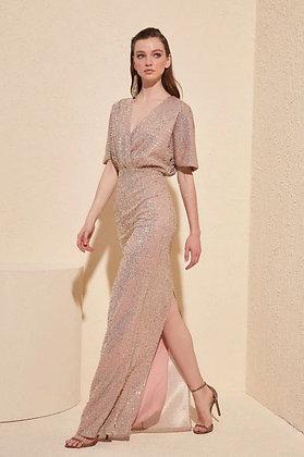 Short Sleeve Sequin Ballgown