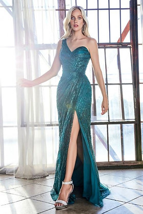 One-shoulder Glitter Ball Gown