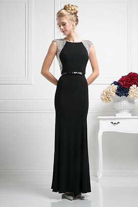 Beaded Stretch Knit Sheath Dress