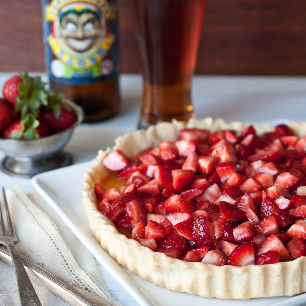 Drunken Strawberry Tart with Beer Lemon Curd
