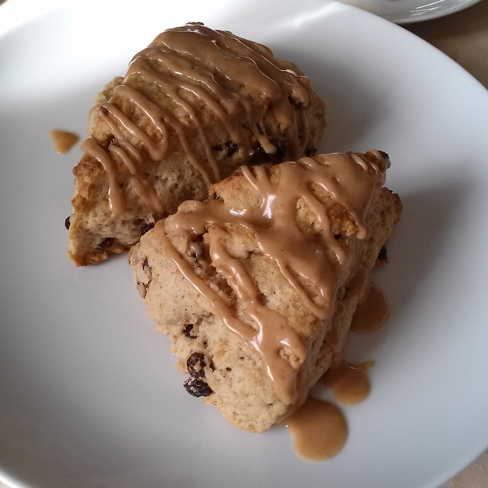 Rum Currant Scones with Rum Glaze
