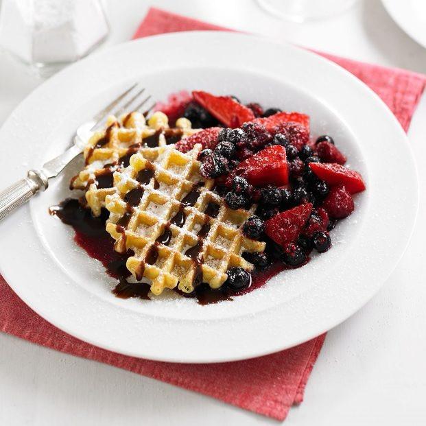 Boozy Berry Waffles