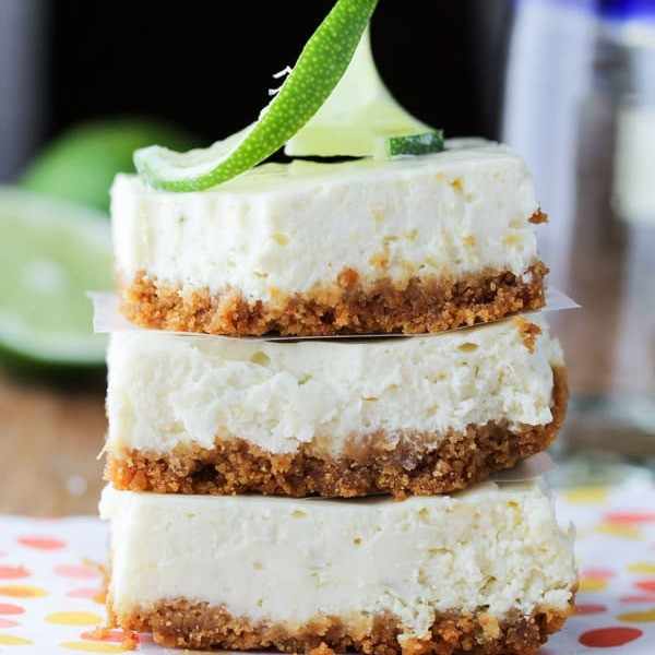 Tequila Cheesecake with lime garnish