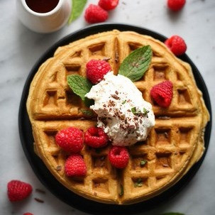 Guinness Waffles with Baileys Whipped Cream