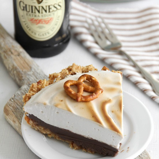 Sweet and Salty Guinness Chocolate Pie with Beer and Marshmallow Meringue