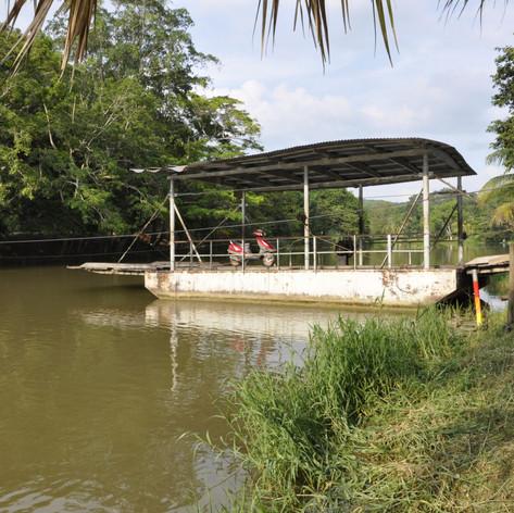 Winch ferry crossing the Mopan River