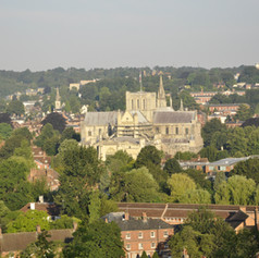 View over Winchester from St Giles Hill