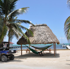 Golf cart and hammocks, San Pedro