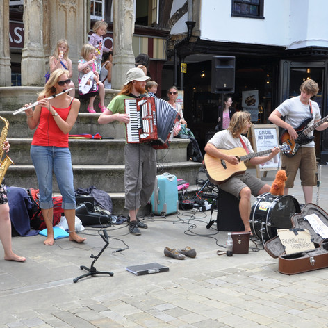 Busking at the Buttercross