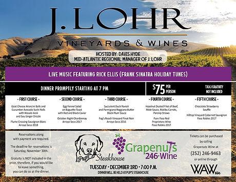 J Lohr Holiday Wine Dinner Flyer 12.3.19