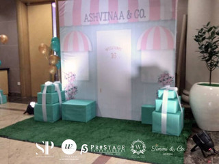 Stage Backdrop+ Themed Photobooth Backdrop+ VIP Table+ Guest Table + Entrance Decor + Candy Bar Deco