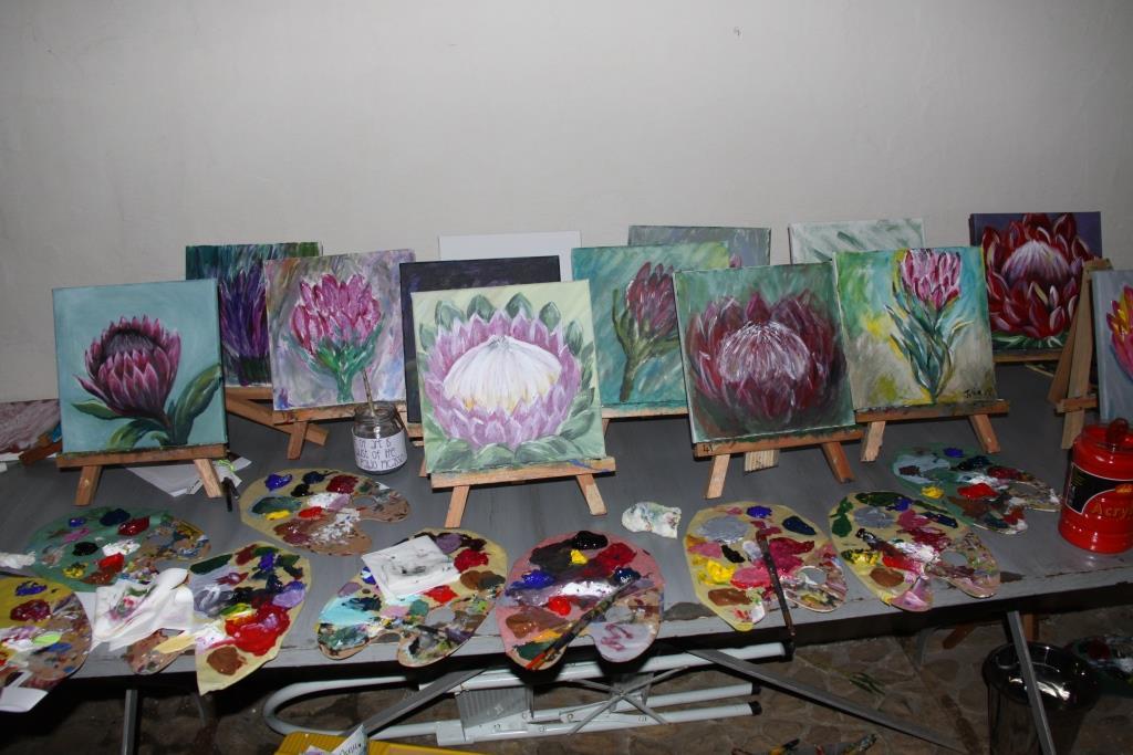 Paint & Sip Protea flowers