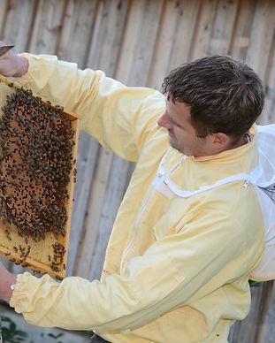 Markus besichtigt Bienen.JPG
