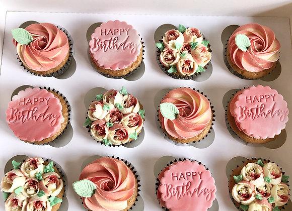 Birthday Floral Cupcakes